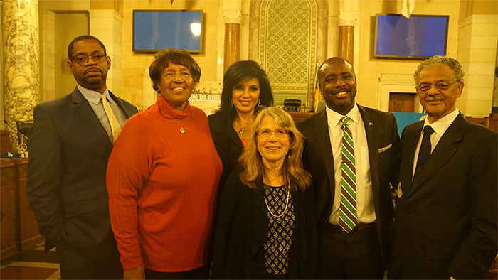 Los Angeles City Hall, February 2, 2016. Pasadena City College history professor and key academic advisor for the film, Christopher Jimenez y West; Lorraine Bradley; Alison Sotomayor; Lyn Goldfarb; Los Angeles City Councilman Marqueece-Harris Dawson; and former Los Angeles City Councilman Robert C. Farrell (ret.).
