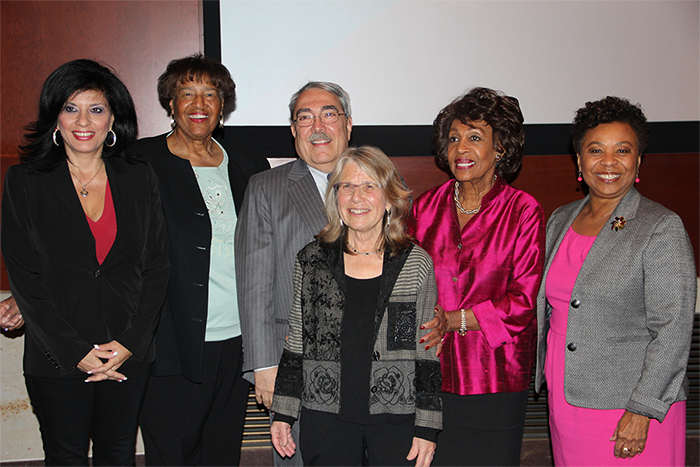 Congressional Black Caucus, April 14, 2016. Alison Sotomayor; Lorraine Bradley; Congressional Black Caucus Chairman G.K. Butterfield; Lyn Goldfarb; Congressmember Maxine Waters;Congressmember Barbara Lee
