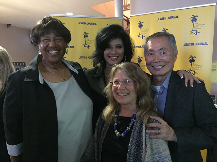 Los Angeles Jewish Film Festival, August 12, 2015. Lorraine Bradley; Alison Sotomayor; Lyn Goldfarb; George Takei, Bradley's 1973 Asian American campaign committee chairman and Bradley's appointee to the board of directors of the Southern California Rapid Transit District (1973-1984)