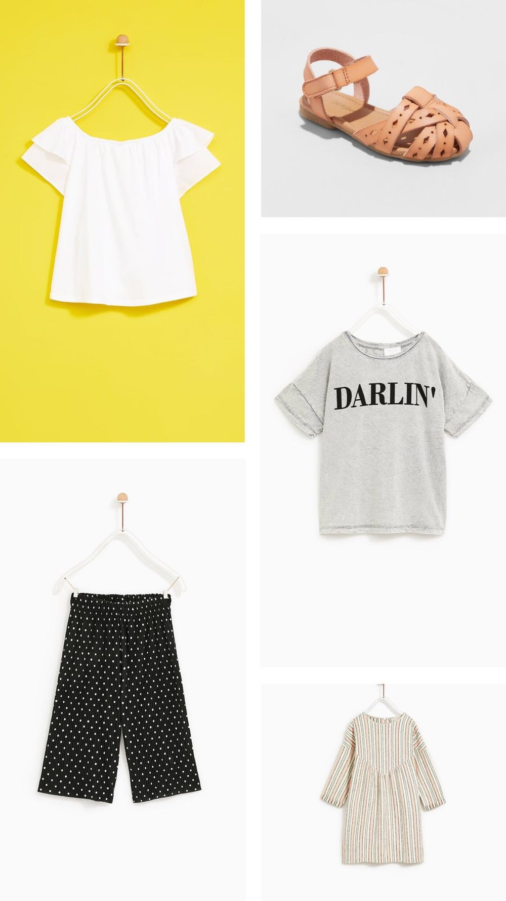 "Top Left:  Ruffled Sleeve T-shirt   Bottom Left:  Pleated Trousers   Top Right:  Cat & Jack Elysia Huarache Sandals    Mid Right:  ""Darlin"" Slogan Shirt   Bottom Right:  Striped Dress"