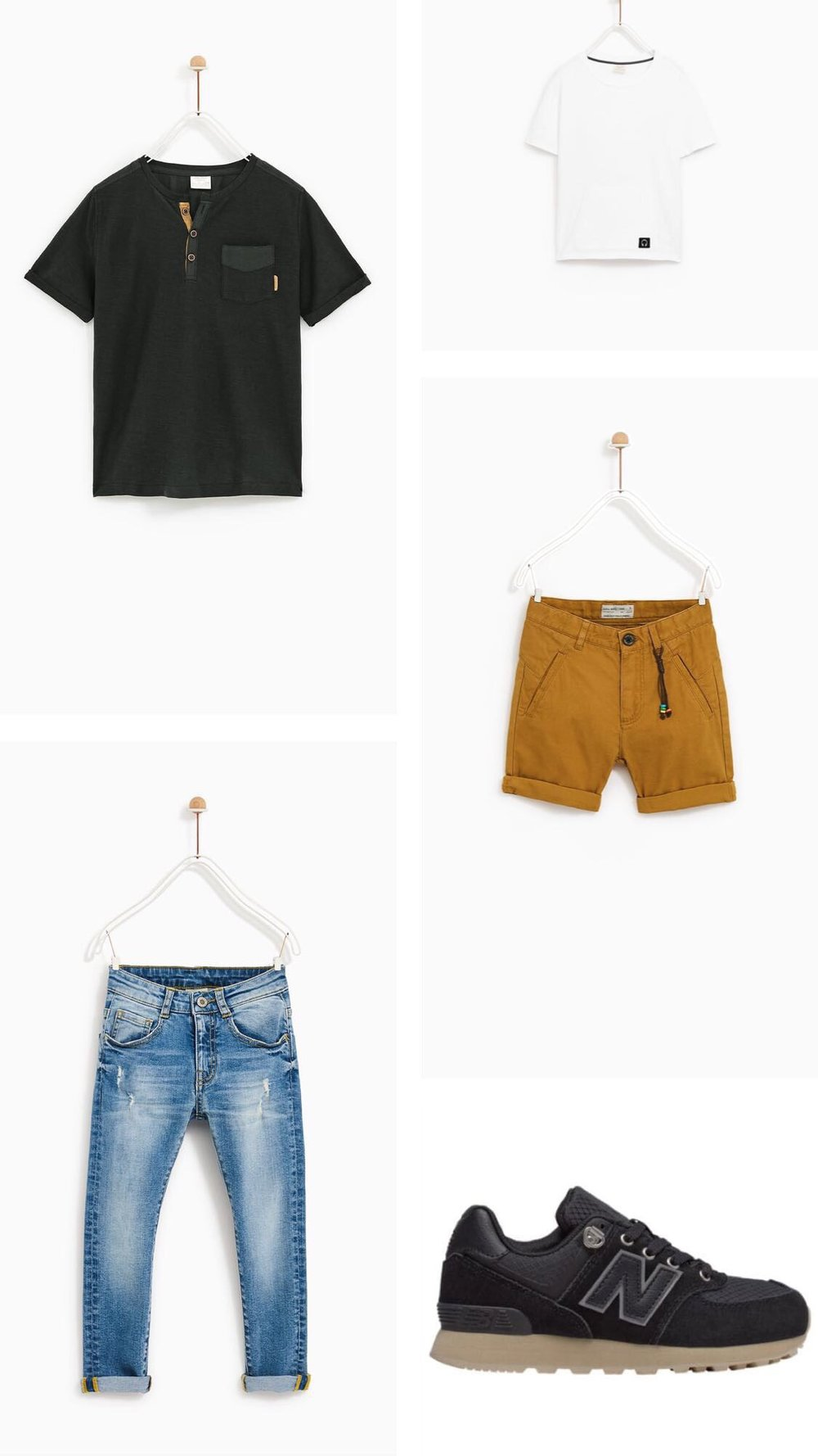 Top Left:  Henley T-shirt   Bottom Left:  Basic Jeans   Top Right:  Double Pocket T-shirt   Mid Right:  Chino Shorts   Bottom Right:  Kid's New Balance 574