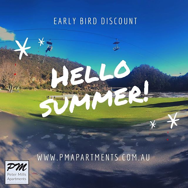 Planning your summer holidays?  Did you know that Peter Mills Apartments offer an 'early bird' discount for anyone that books their stay 3+ months in advance - available direct or via airbnb ☀️✈️ . . . #petermillsapartments #accommodation #launceston #tasmania #earlybirddiscount #discount #familyholiday #familytrip #businesstrip #weekendaway #destinationlaunceston #bookdirect #luxuryaccommodation #travel #explore