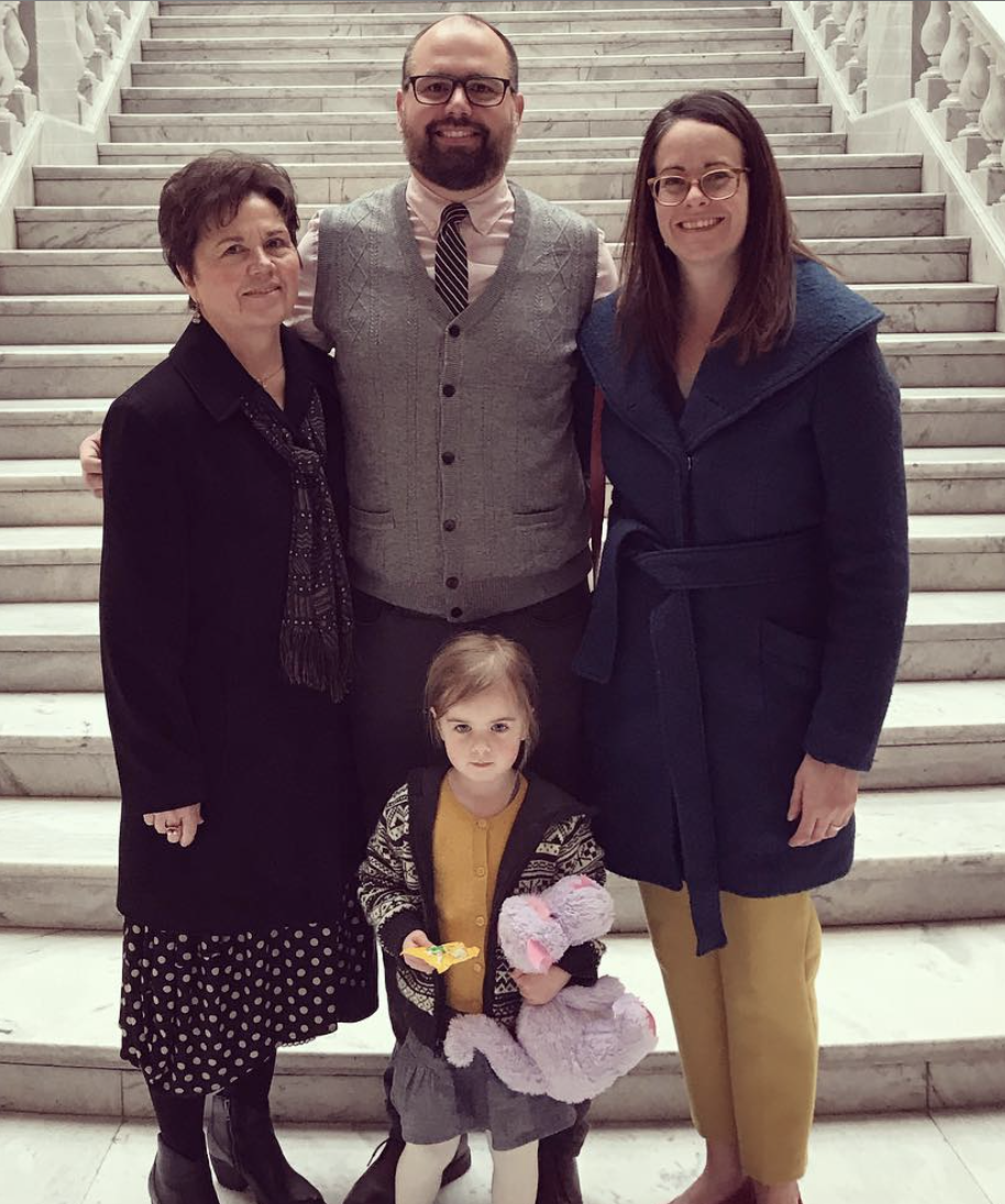 BEN HAMMOND, CENTER, WITH MOTHER, WIFE AND DAUGHTER AT STATE CAPITOL CELEBRATING THE ANNOUNCEMENT.  (PHOTO COURTESY B. HAMMOND)