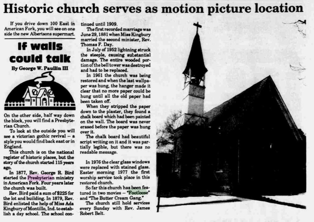 1993  CITIZEN  ARTICLE ABOUT THE PRESBYTERIAN CHURCH IN 'FOOTLOOSE.'