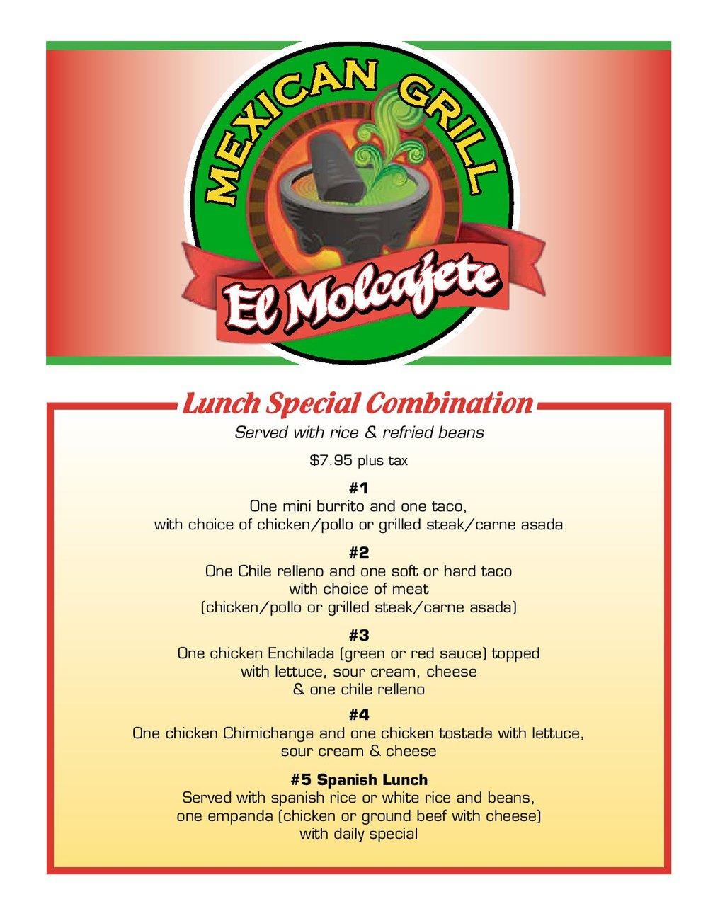 El Molcajete Menu (page 1)