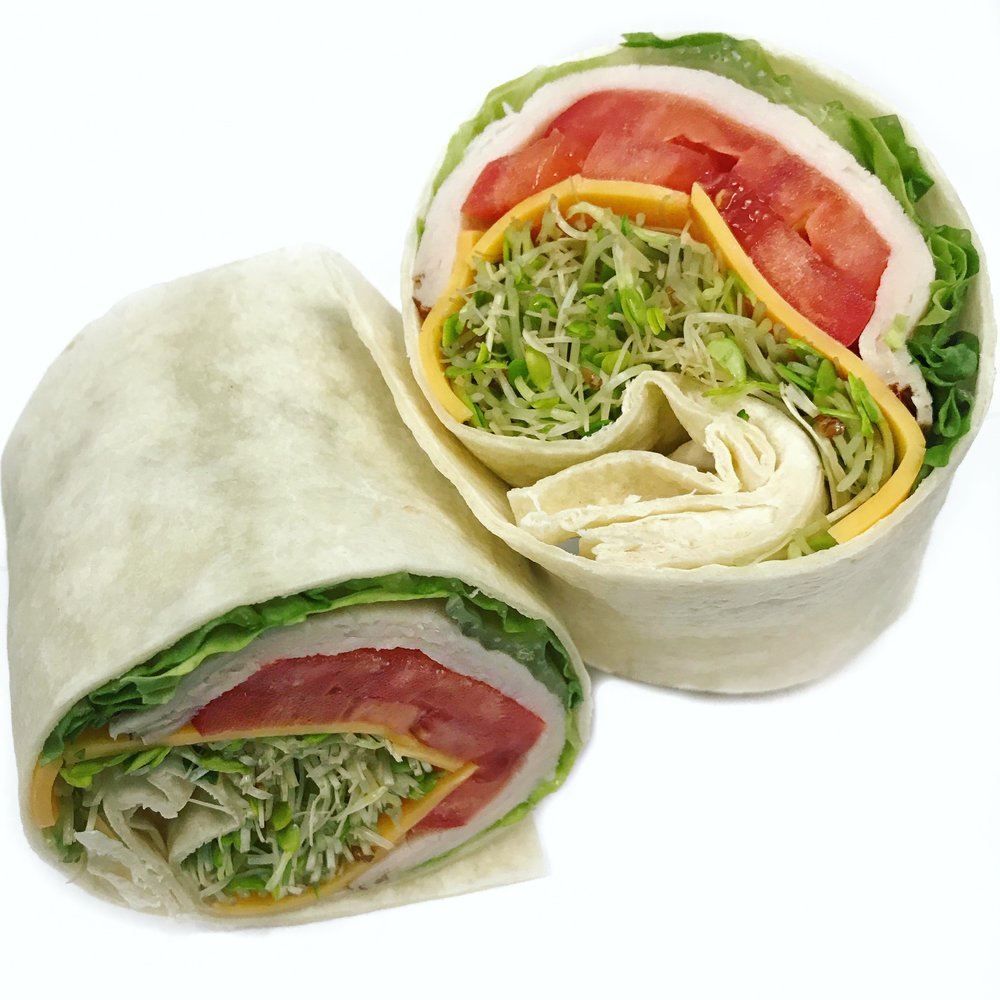 - Turkey Wrap Turkey Breast, Cheddar Cheese, Lettuce, Tomato, Alfalfa Sprouts wrapped in a Whole Wheat Tortilla