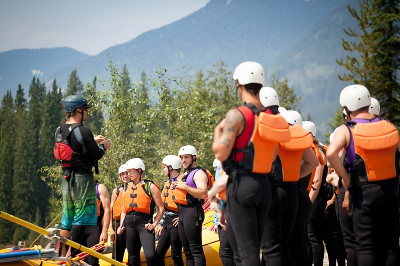 Safety briefing before heading out on the river