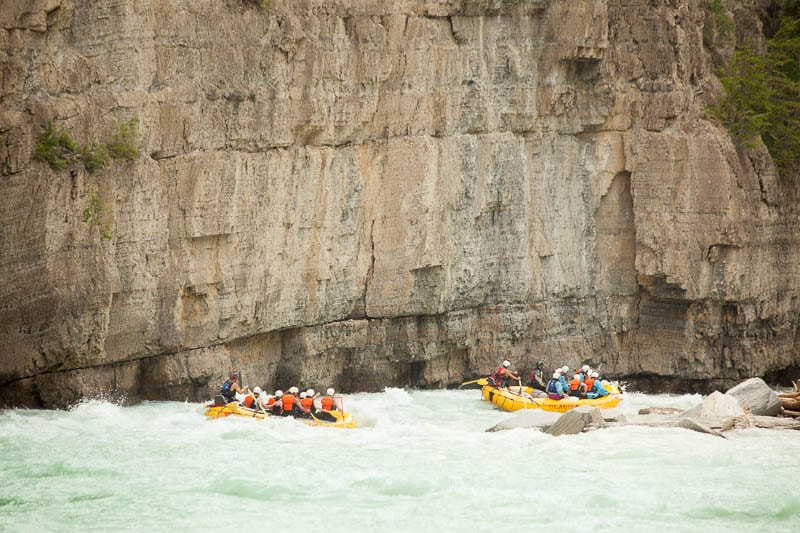 Rafting into the Lower Canyon of the Kicking Horse River