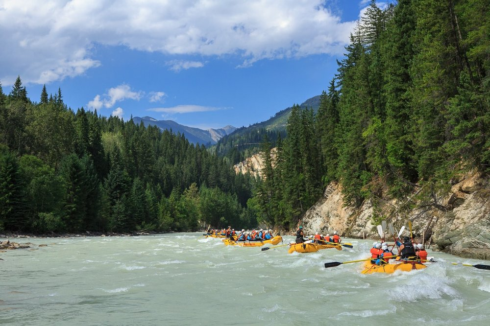 Mountain views from the Kicking Horse River in Golden, BC