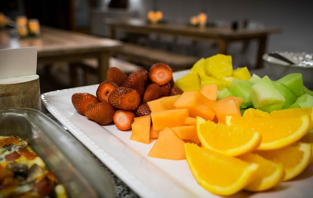 Fresh fruit served each morning for breakfast