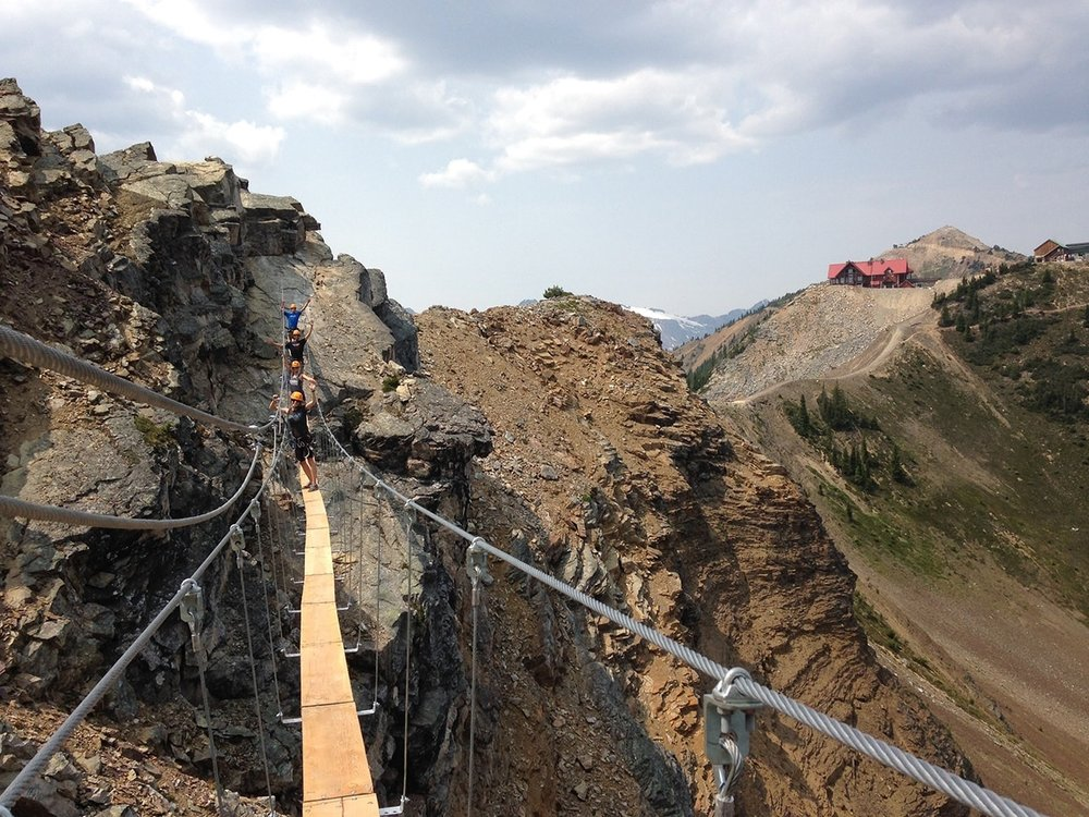 VIA FERRATA   The newest attraction at Kicking Horse Mountain Resort, a series of connected climbing routes allows you to explore Terminator Peak.  No climbing experience is required - you're always harnessed in and a guide will show you the way.