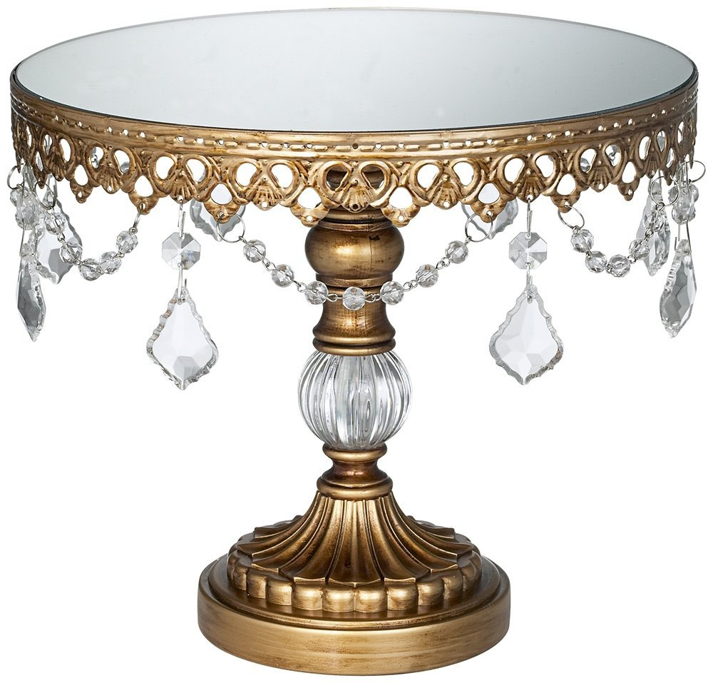 antique gold cryhstal mirro top 8 .5x10 round cake stand.jpg