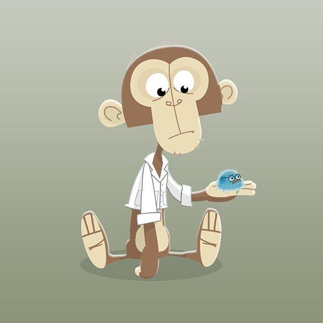 Everyone needs a tailless monkey for a sidekick. #cartoon #animation #animalart #monkeyart #monkey #ape #sidekick #characterdesign #science #cute #childrensart #childrensbooks #illustration #sketch