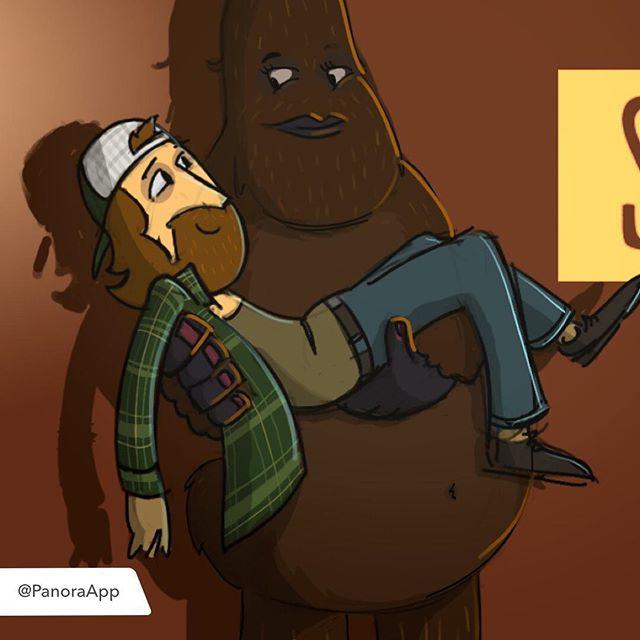 Concept artwork for a short cartoon pitch about a sexy Sasquatch. #sasquatch #squats #hiking #pnw #animation #cartoon #bigfoot #yeti #harry #animallove #chewbacca #conceptart #illustration #sasquatting