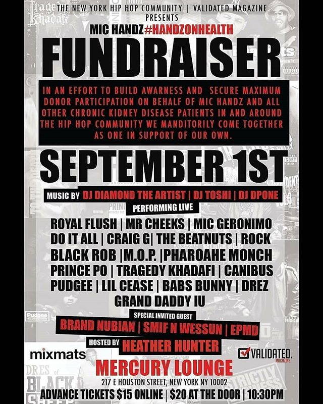 @djdiamondtheartist @djdpone @deejay_toshi -  @michandz We got u!! The Hip Hop community comes together 4 our own on Sept 1st the #HandzOnHealth Chronic Kidney Disease Fundraiser Event. It's very honor to be in the building rocking with the incredible artists for this good cause. Your attendance is very important.  #michandz  #rockdahouse #BodegaColdKutz #ClassicStormRadio #WrittersBlockConcertSeries #WrapFm #MicHandz #HipHop #WeAreTheCulture #NYC #BoomBap #Beats #Bars #Mcs #HipHopCulture #HipHopHead #HipHopMusic #RapMusic #NycHipHop #NewYorkHipHop #UndergroundHipHop #TheUndergroundLives #ChronicKidneyDisease #Fundraiser #Awareness #HipHopCommunity #djtoshi #deejaytoshi