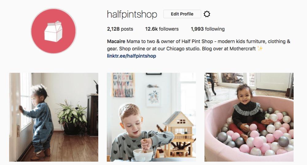 half pint shop - social media
