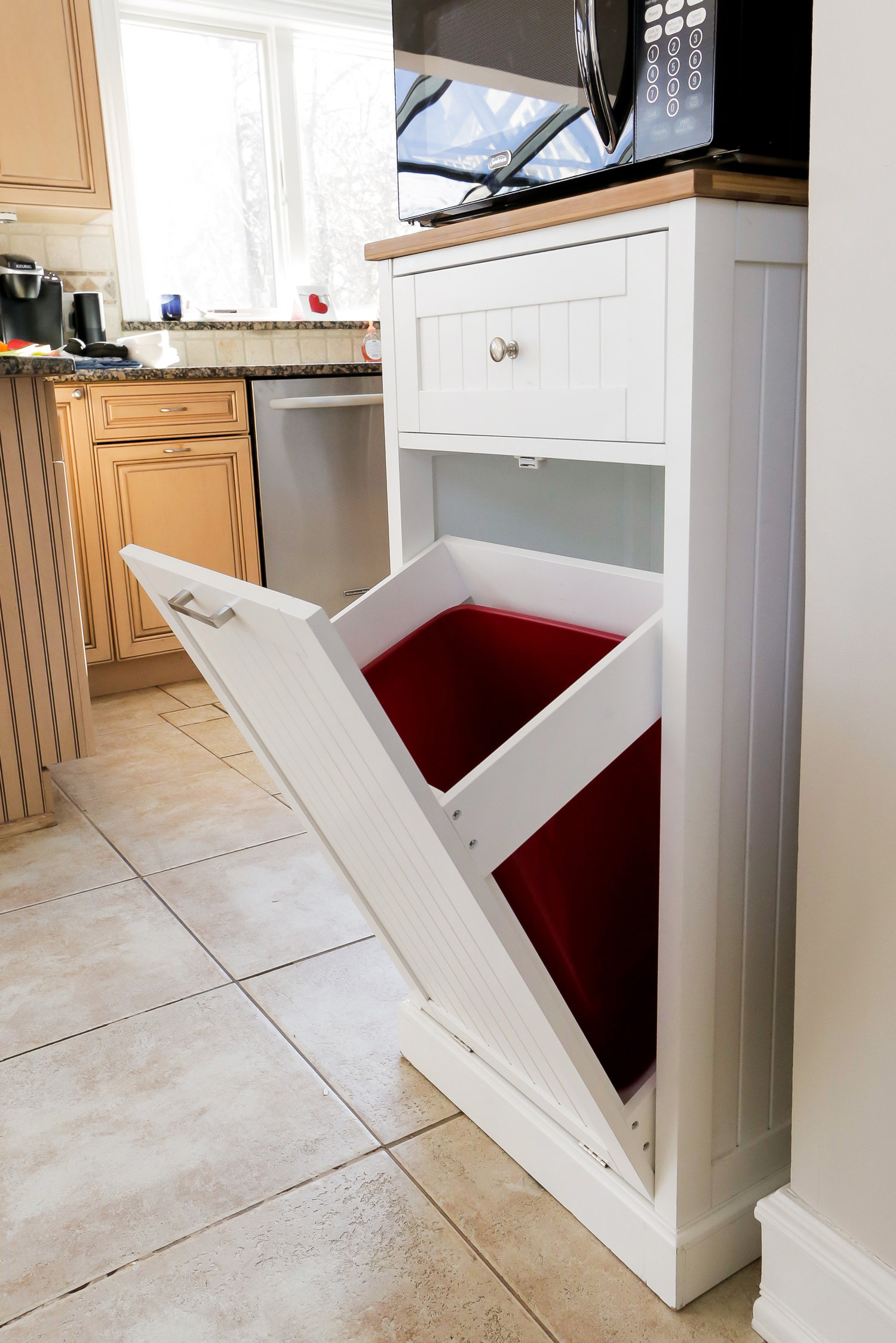 attractive kitchen and can with island cart drawers trash drawer including ideas
