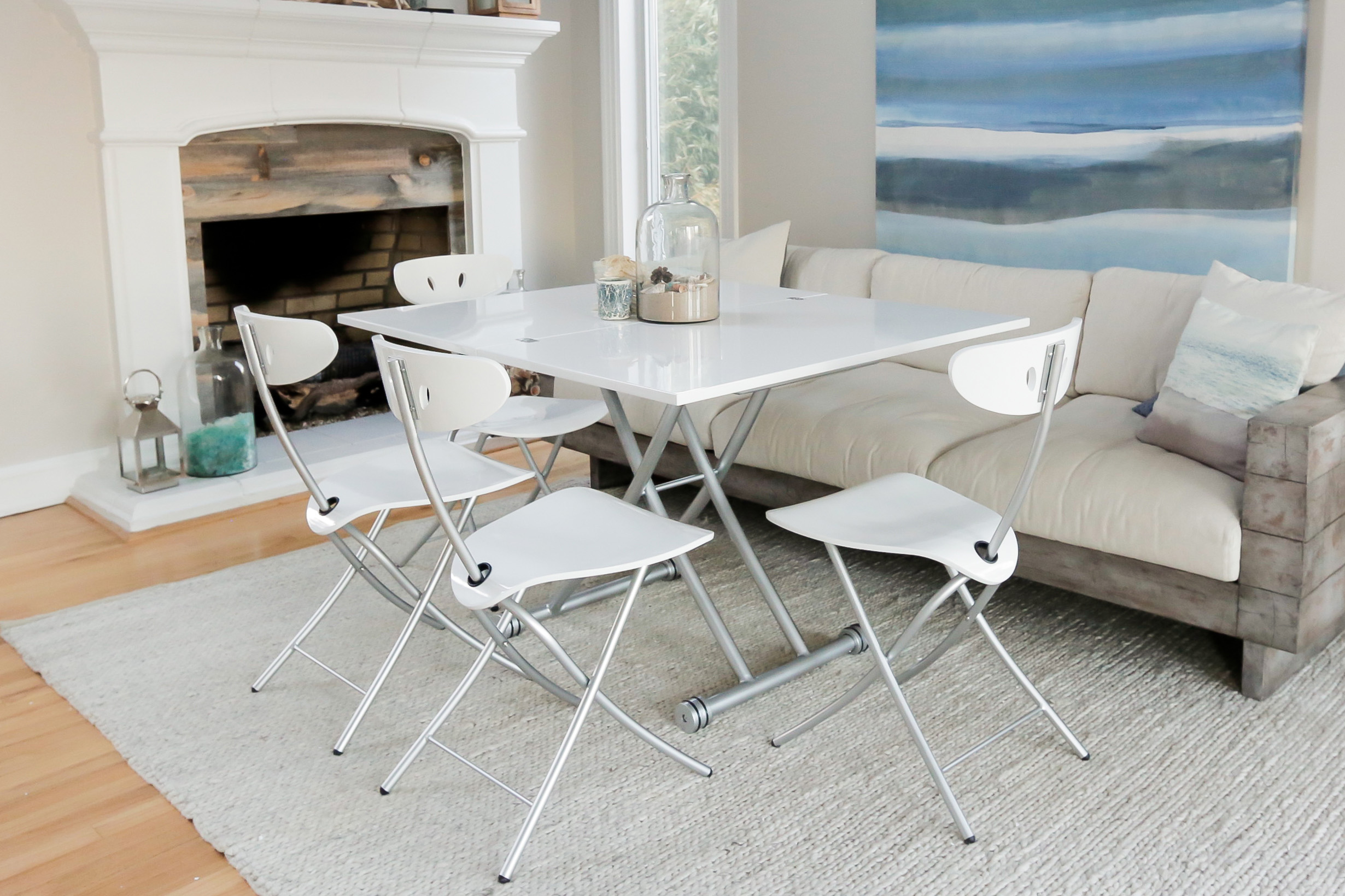 Transforming X Coffee and Dining Table in High Gloss White Finish