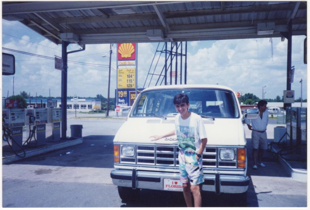 Me pumping    cheap    gas, driving from the store in Tampa to one in Highlands, NC (1992)
