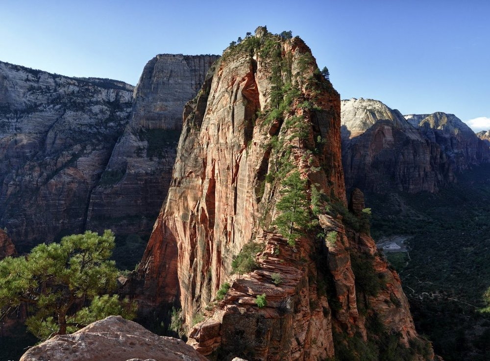 the view of Angel's Landing after coming around the second-level peak.