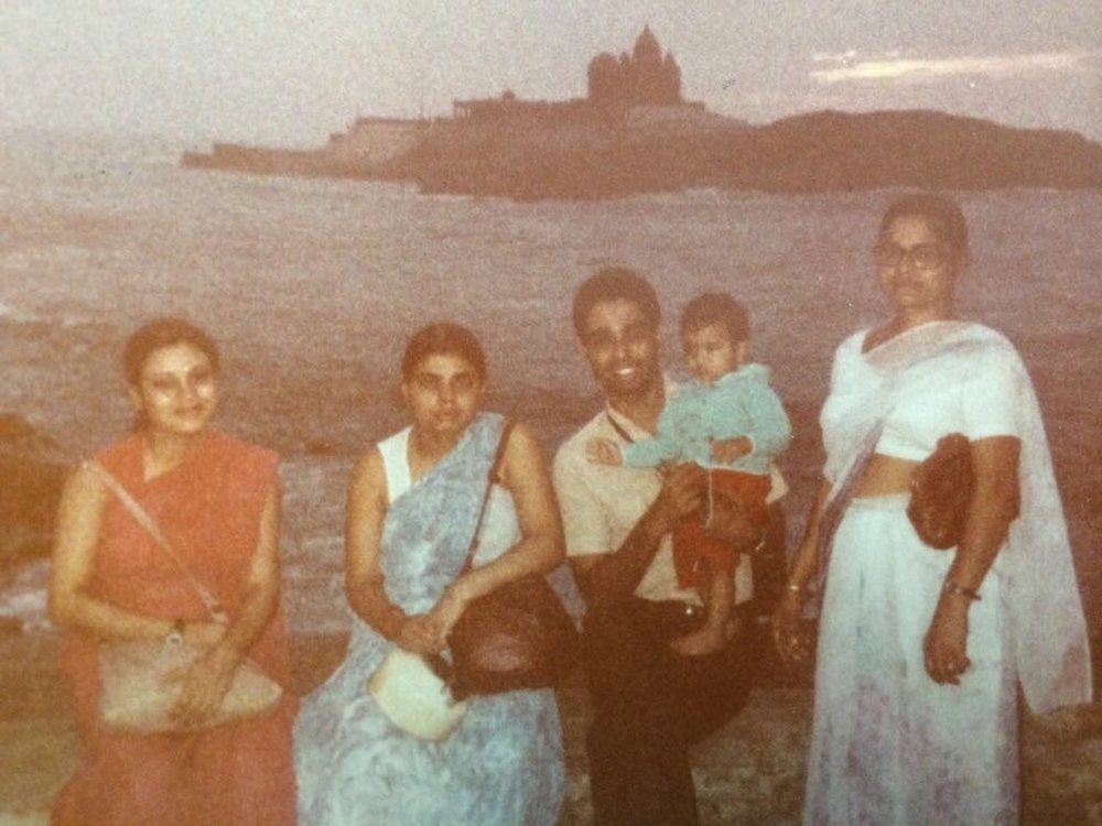 My dad, his sisters, my oldest cousin as a baby, and my grandmother in Kanyakumari