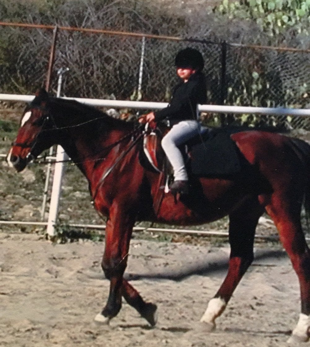 Me on Barney, my favorite of Jane's '90s school horses