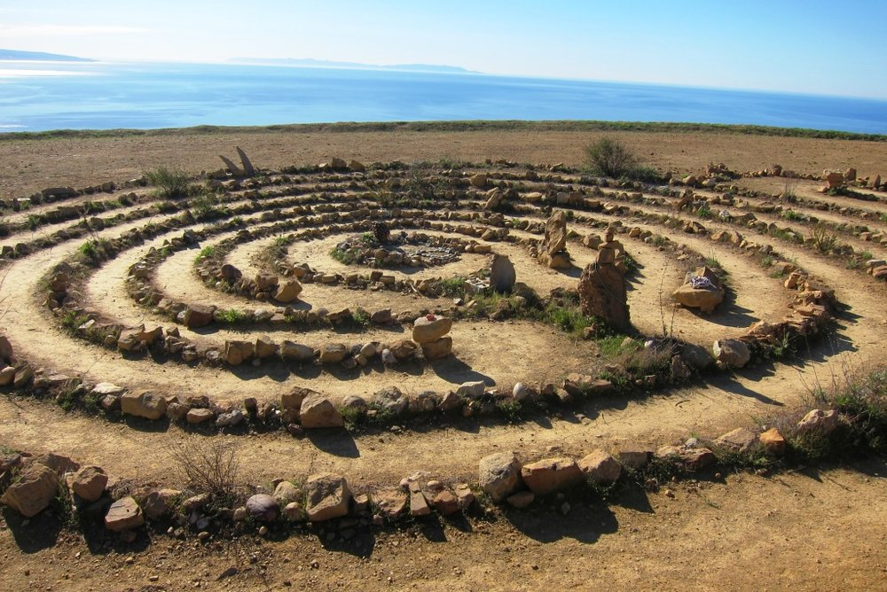 The Topanga Canyon labyrinth facing the ocean