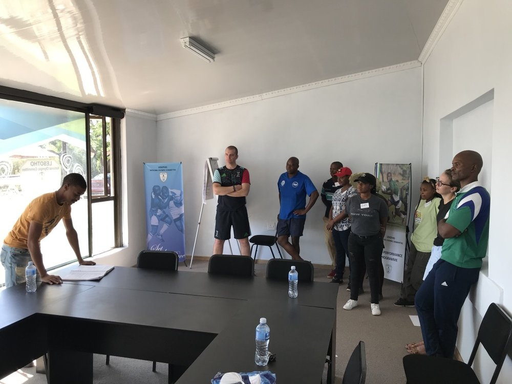 Classroom session facilitated by Lesotho National Olympic Committee