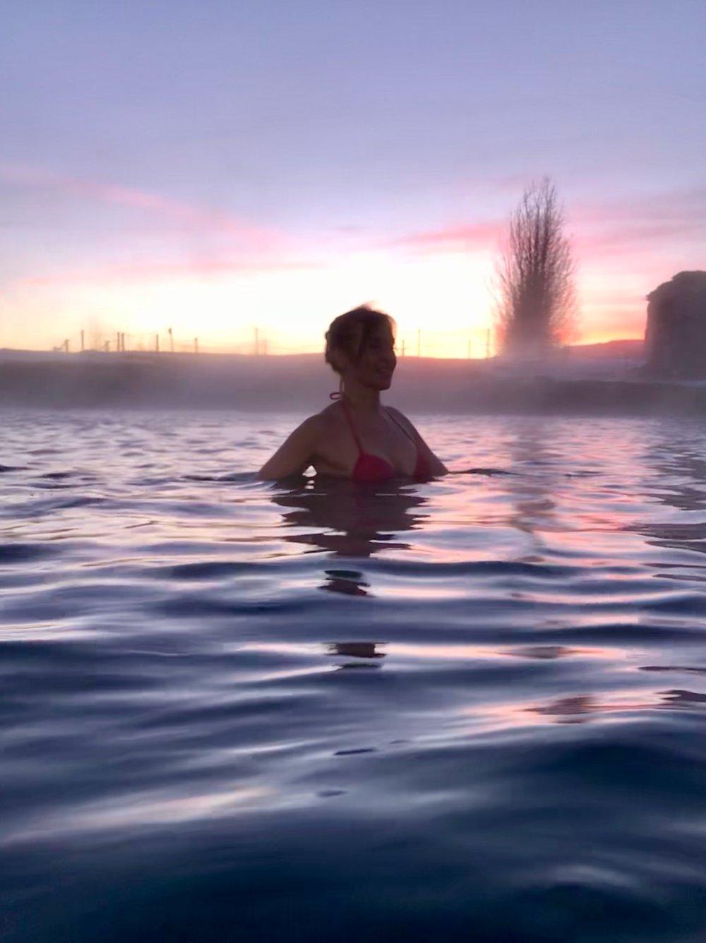 Sunrise over the Secret Lagoon