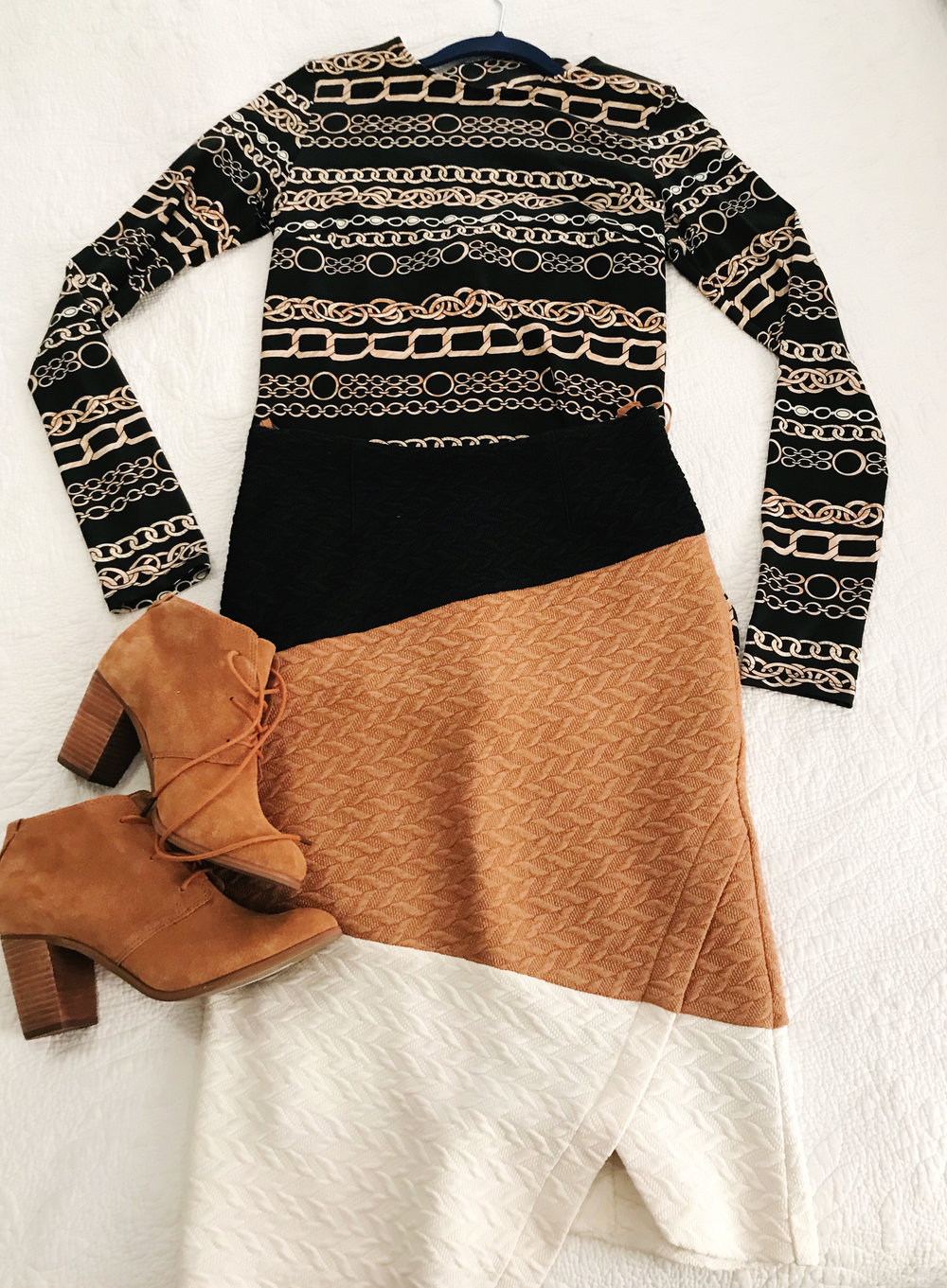"""Anthropologie skirt, Tom's booties. The base layer here is actually a chain-pattern dress I've had forever! It's thin enough to fit under the skirt and double as a faux """"top"""" :-)"""