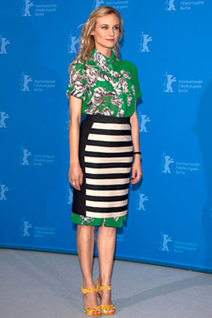 I love how Diane Kruger does it here... a simple silhouette, and bonus points for wearing a pencil skirt over a shirt dress!