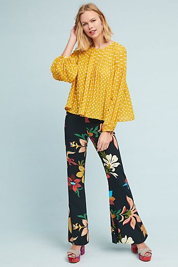 Anthropologie  pulled these two patterns together with sunny yellow in their new Spring collection