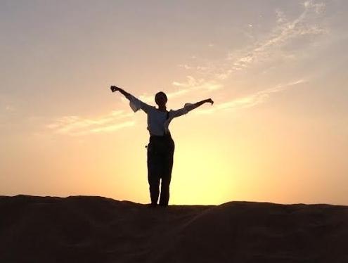Kayla in the Arabian desert, Dubai