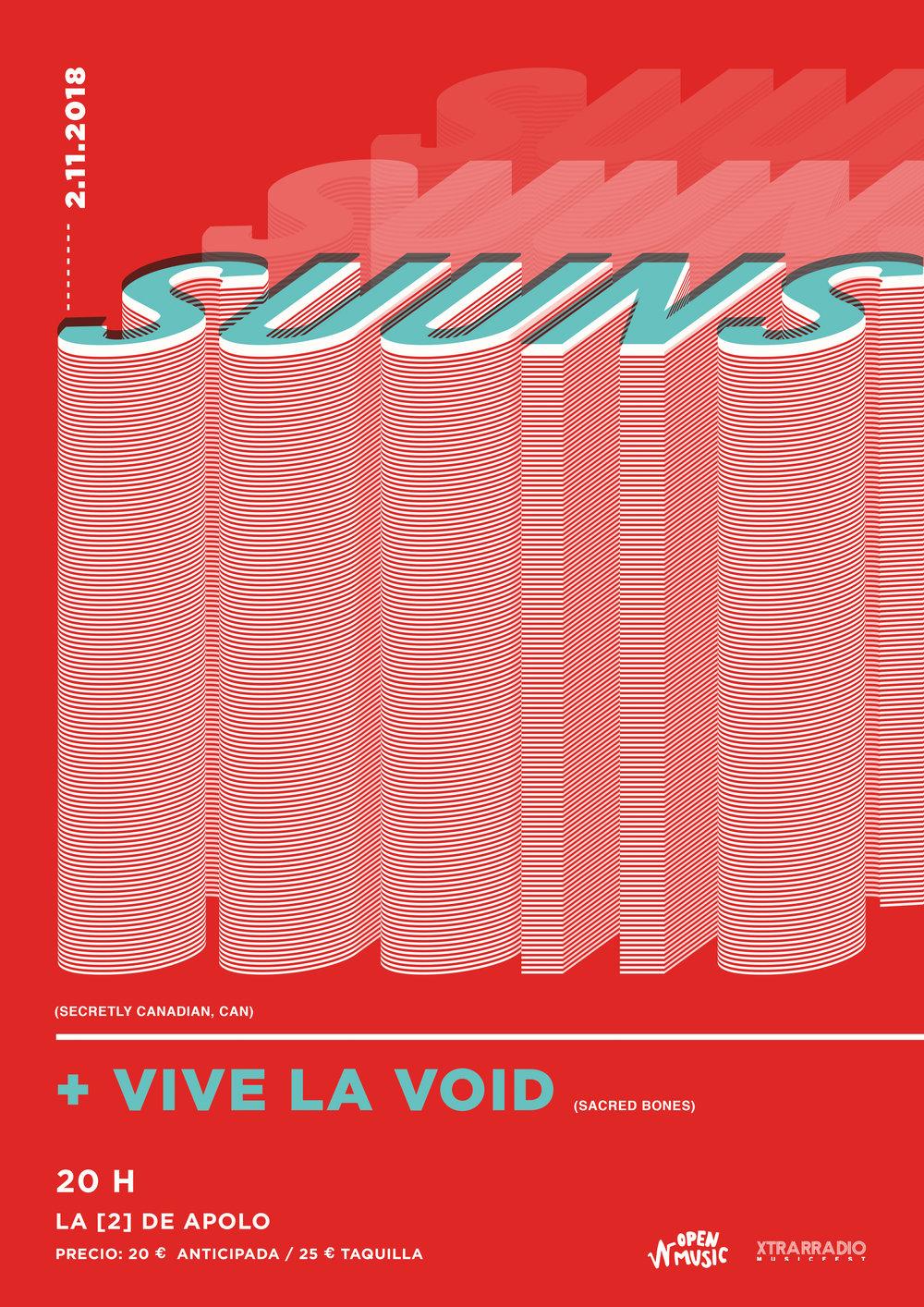 """SUUNS + Vive La Void en Barcelona by Xtrarradio & Openmusic - • Viernes 2 de noviembre de 2018, 20 h.• La [2] de Sala Apolo, Barcelona.• + Banda invitada:Vive la Voides el proyecto en solitario de Sane Yamada (Moon Duo).• 20 € Anticipada en entradium+ gastos / 25 € taquilla.• Suscríbete a nuestra NEWSLETTER:https://goo.gl/w7gtL4VIDEO:https://goo.gl/CHXvQ2AUDIO:https://goo.gl/3ufsN3Estos canadienses fueron las sensación del Primavera Sound2016 dejando a todo el público anonadado con su oscuridad y post-punk de autor. Y es que los canadienses empezaron en el art-rock más oscuro con su debut en 2010 de """"Zero QC"""". Hoy, ocho años después, la crítica los deja por las nubes y es que su disco, """"Hold/Still"""" de 2016, fue la pera limonera.Una de las características del grupo es su línea de experimentación ascendente, que desde 2007, año en el que se formó oficialmente la banda, persiguen con pasión. Ahora, con más electrónica que en anteriores entregas, podremos disfrutar en directo de una propuesta más sosegada, más detallista donde la banda se ha llenado de influencias de John Congleton (productor de Swanso Explosions in the Sky, entre otros).Por si no lo sabíais,SUUNS(se pronuncia """"soons"""", y se traduce como """"ceros"""" en tailandés) han tratado de hacer las cosas de manera diferente a lo que auguraba la escena canadiense. Se formaron en Montreal 2007, cuando el cantante / guitarrista Ben Shemie y el guitarrista Joe Yarmush se unieron para trabajar en algunas demos, a las que pronto se unirían Liam, el viejo amigo de Ben en la batería y Max Henry en el sintetizador. Los dos primeros discos """"Zeroes QC"""" e """"Images Du Futur"""", fueron nominados al Premio Polaris de 2012 y la banda pronto se vio metida en el saco del renacimiento musical de finales del año 2000 en la ciudad de Montreal. Sin embargo, al mismo tiempo, los SUUNS se sienten muy alejados de los grandes conjuntos barrocos y orquestas apocalípticas que caracterizan la escena en Canadá. """"Escribimos música muy minimalista"""", pie"""