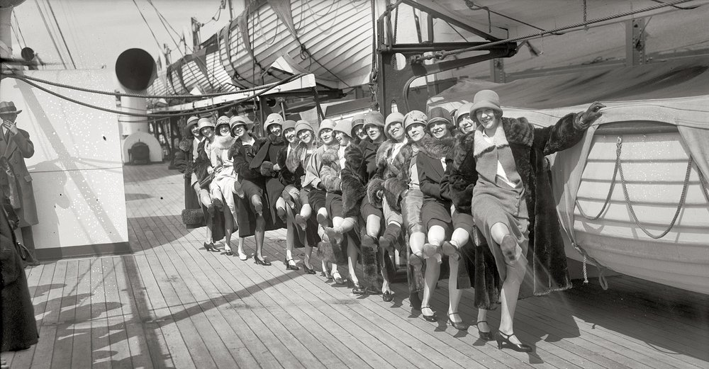 The famous chorus line the Tiller Girls taking a turn about the deck of the Berengaria in 1926