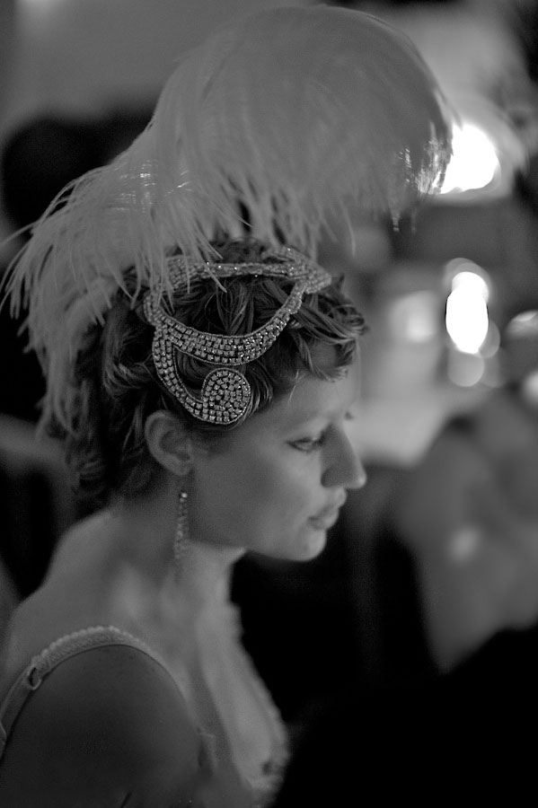 Woman in a showgirl headdress