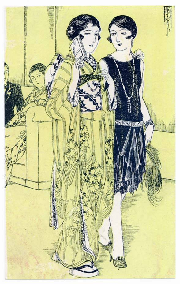 - Takabatake Kashō, whose illustrations appeared in countless adverts and fashion magazines, regularly shows women in modern flapper dresses alongside women of the same age in traditional garb—clearly being careful to show Western culture as alluring but unthreatening