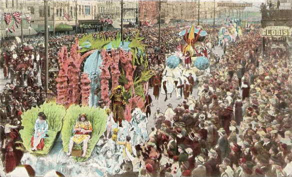 Parade floats in Canal Street, 1920s