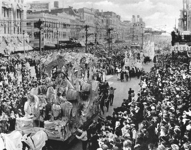Mardi Gras parage on Canal Street, 1920s