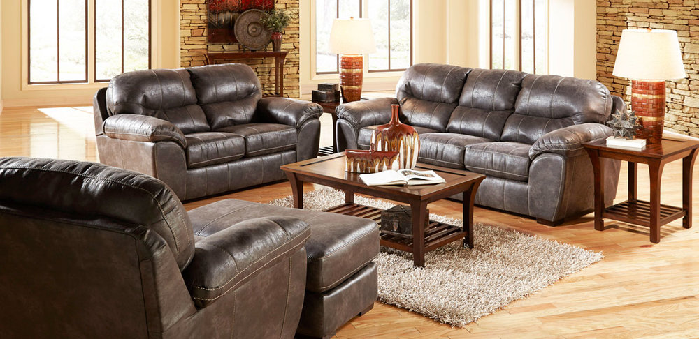 Grant Sofa And Loveseat In Steel