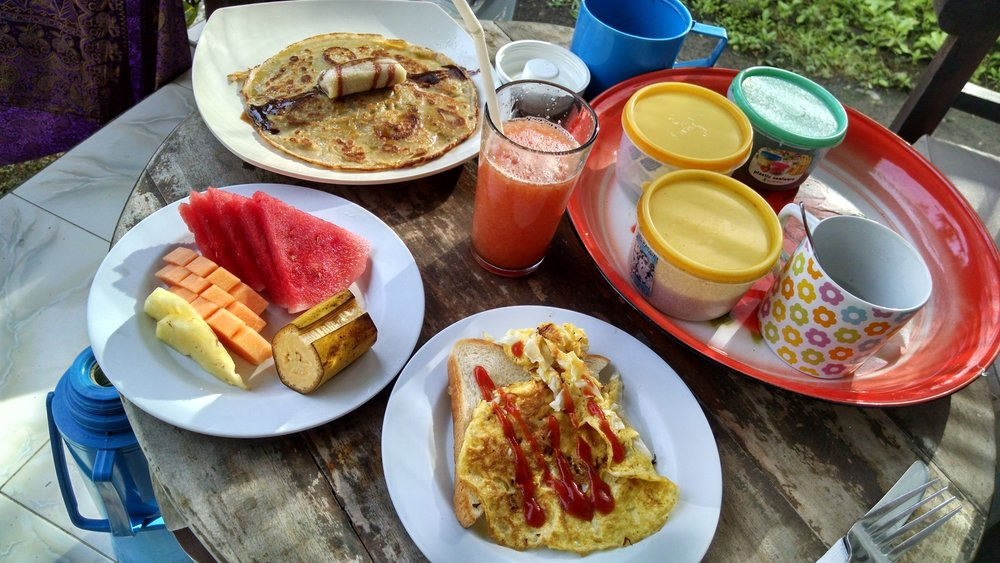 The breakfast at Bubu Racok - there was a lot of climbing and snorkeling to work this off each day!
