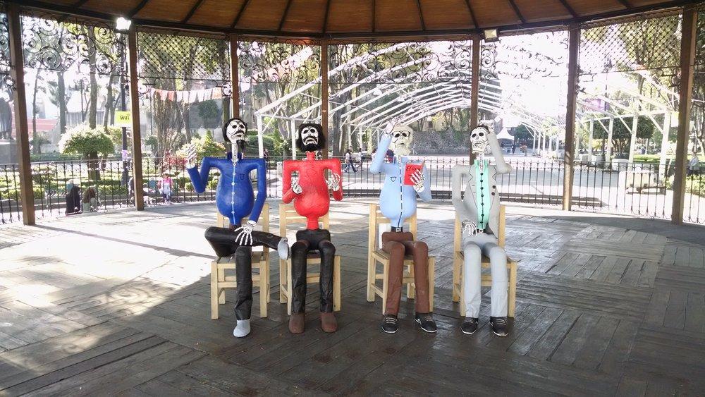 Dia de los Muertos setup in Coyoacá
