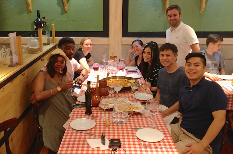 A (slightly blurred) image of our Tapas tour finishing up dinner at 11:30pm, with our tour guide Rafa