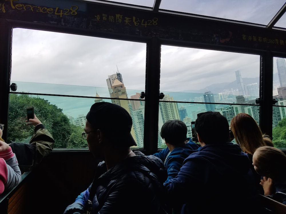 The diagonal view of the city through the tram