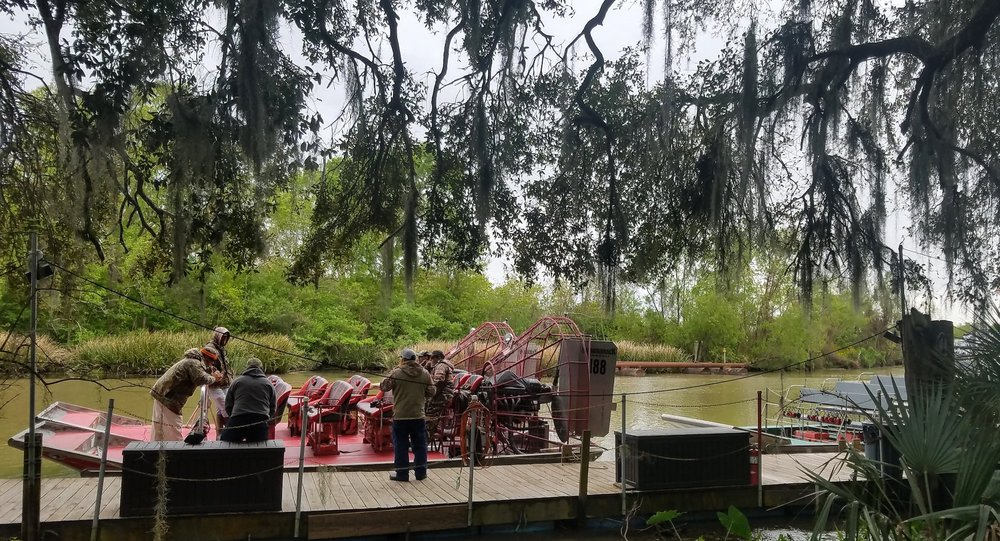 Original New Orleans Airboat Tour Guides waiting to load up passengers