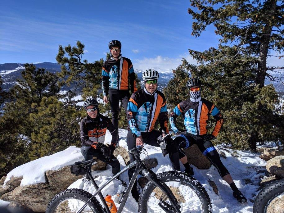 Just a few of the crew taking in a snow ride!