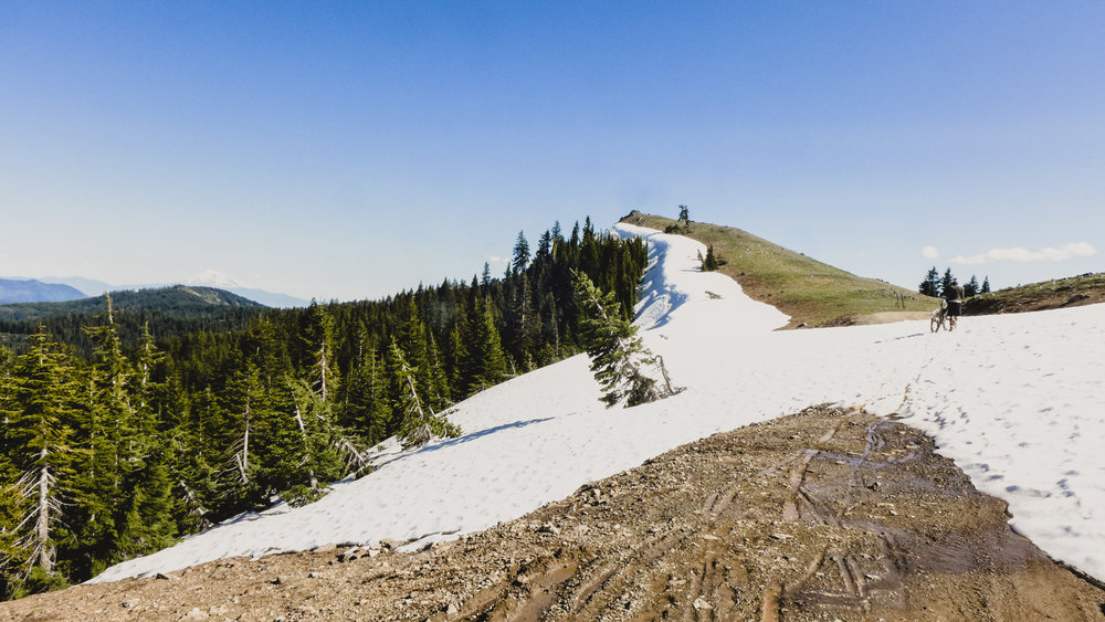 Even in June snow can remain at the higher elevations along the Crest.