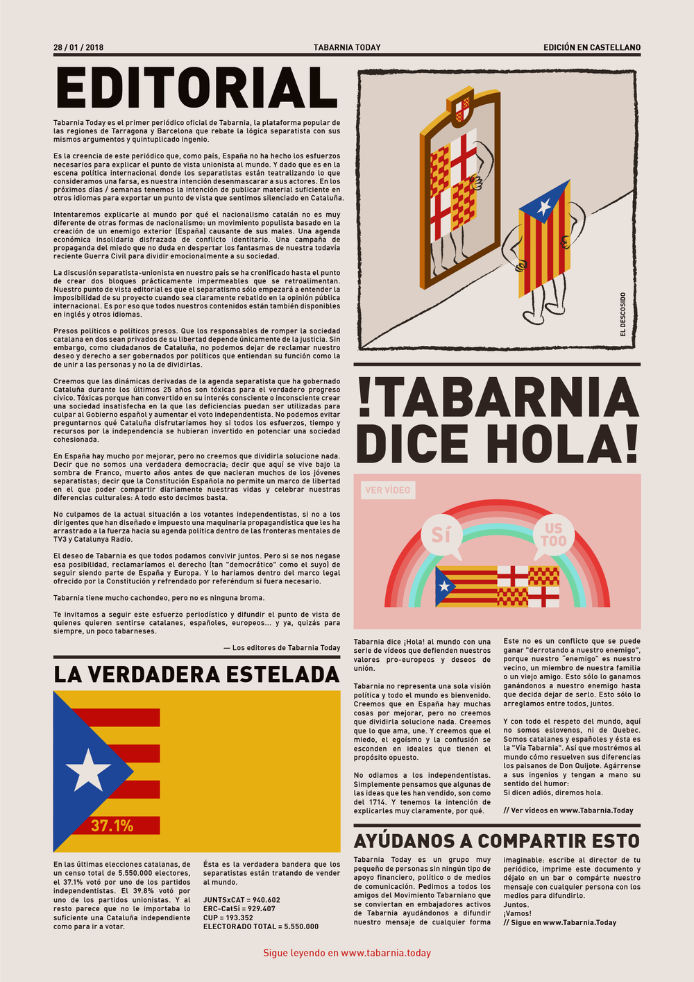 Editorial de la primera edición de Tabarnia Today
