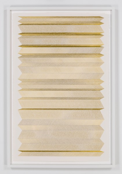 untitled, 2015  18 K gold thread on paper 40 1/4 x 26 in. unframed 43 3/4 x 29 in. framed