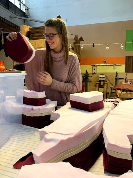 Prepping cut pieces of the blazer to vacuum the lint off and then pack in individual bags so we can keep each size separate. Featuring the coziest sweater I own from  Nellie Taft  (local Indianapolis brand owned by some of the most amazing people). Thanks to the lovely Dlang from  Dlang Designs  for snapping the photo.